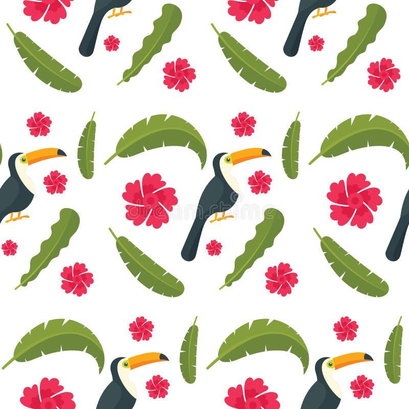 De vogel naadloos patroon van de toekanpapegaai, vlakke stijl stock illustratie