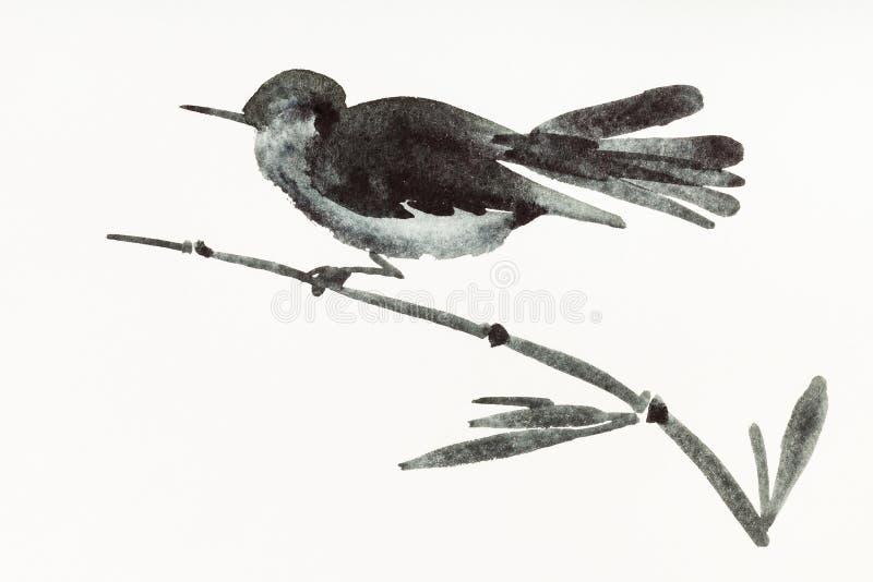 De vogel op bamboetakje is hand op romig document wordt getrokken dat royalty-vrije illustratie