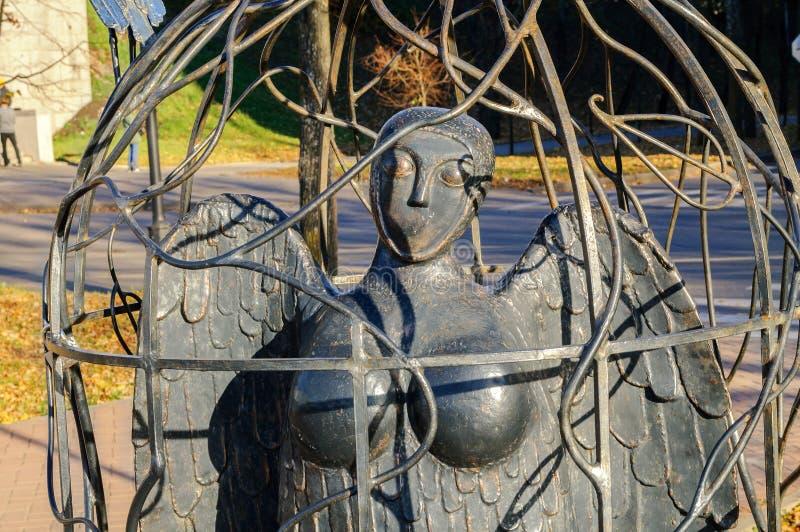 De Vogel Sirin van het stadsbeeldhouwwerk royalty-vrije stock afbeeldingen