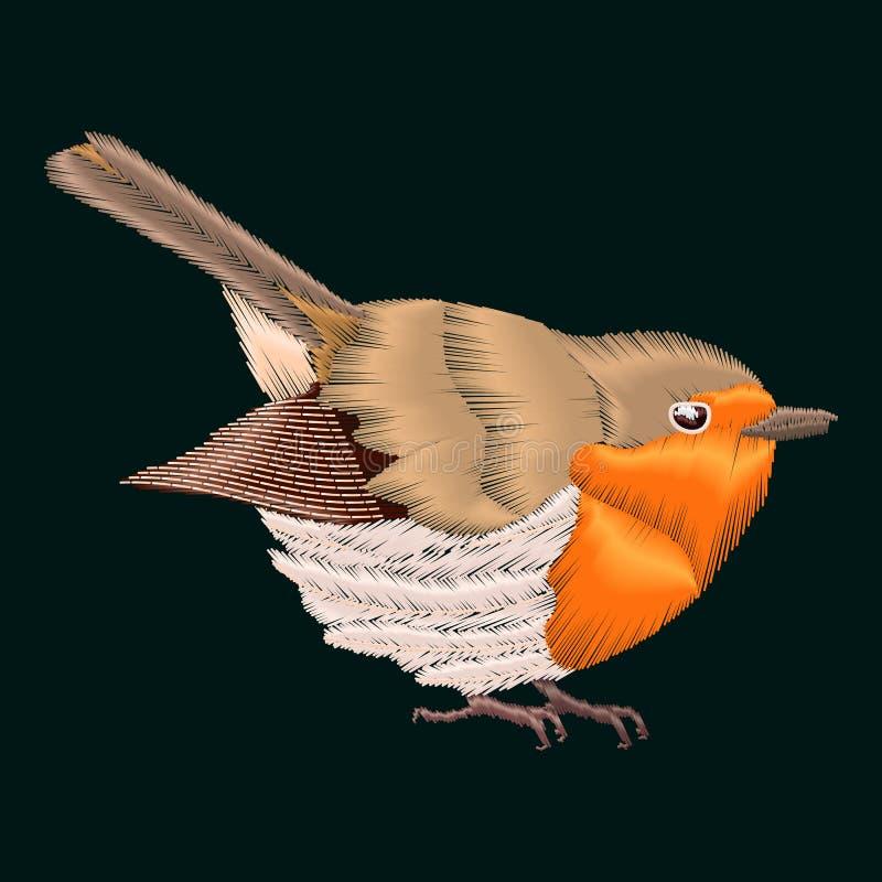 De vogel van borduurwerkrobin Vectorillustraties uitstekend ontwerp stock illustratie