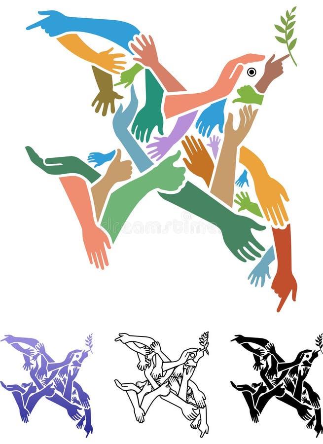 De vogel van de handenvrede stock illustratie
