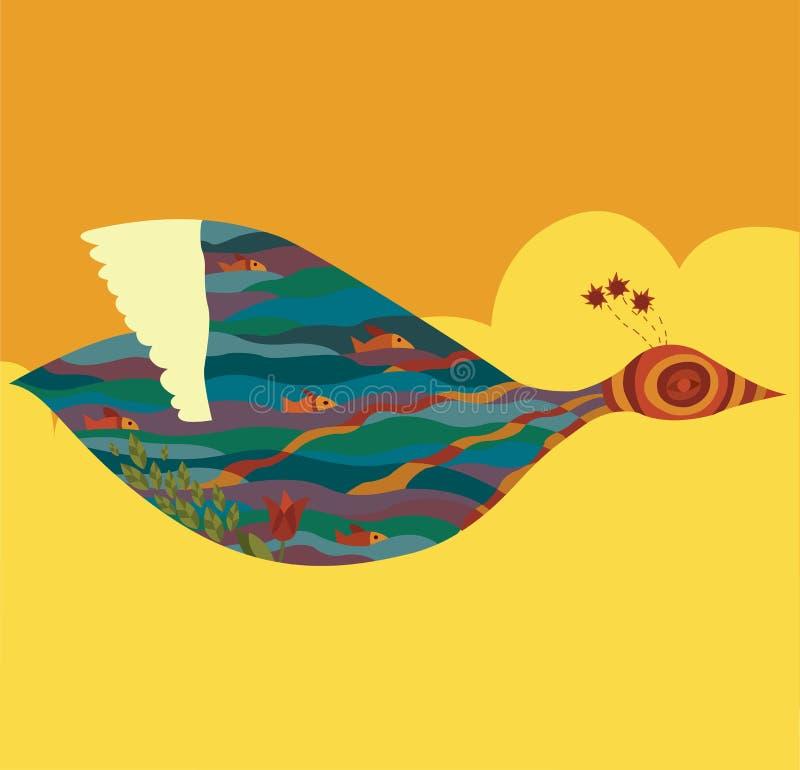 De vogel van de zomer stock illustratie