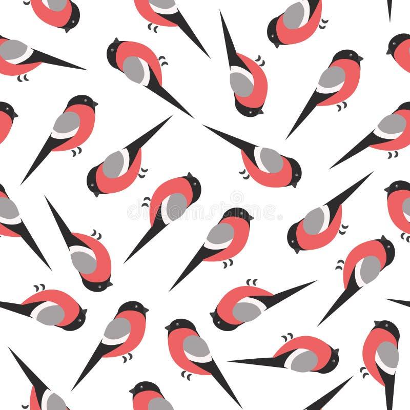 De vogel van de goudvinkwinter op wit patroon als achtergrond royalty-vrije illustratie
