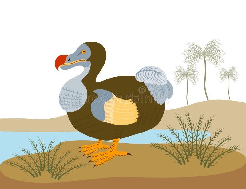 De vogel van het dodo in een eiland stock illustratie