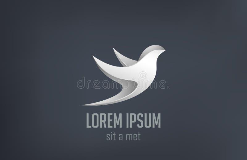 De Vogel vliegend metaal abstract vectorde van embleemjuwelen vector illustratie