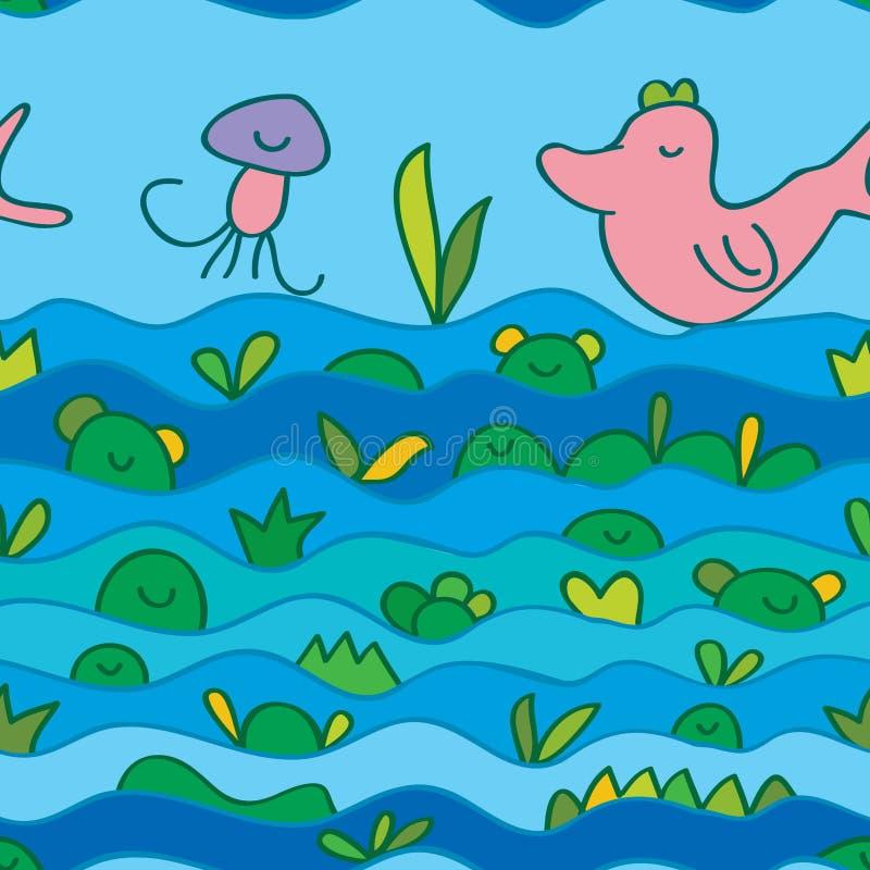 De vogel zwemt vlieg naadloos patroon stock illustratie
