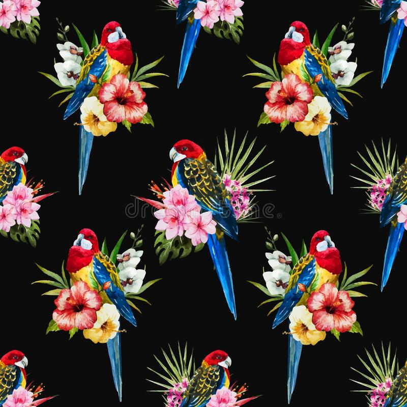 De vogelpatroon van waterverf vectorrosella stock illustratie