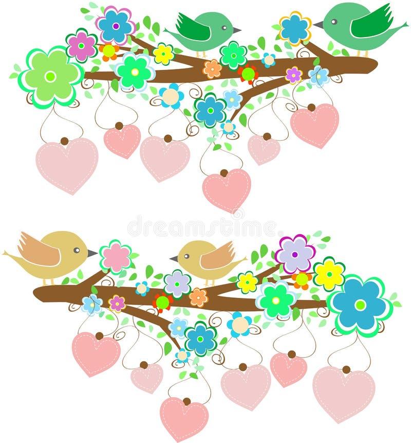 De vogels die op boom zitten vertakken zich met liefdehart stock illustratie