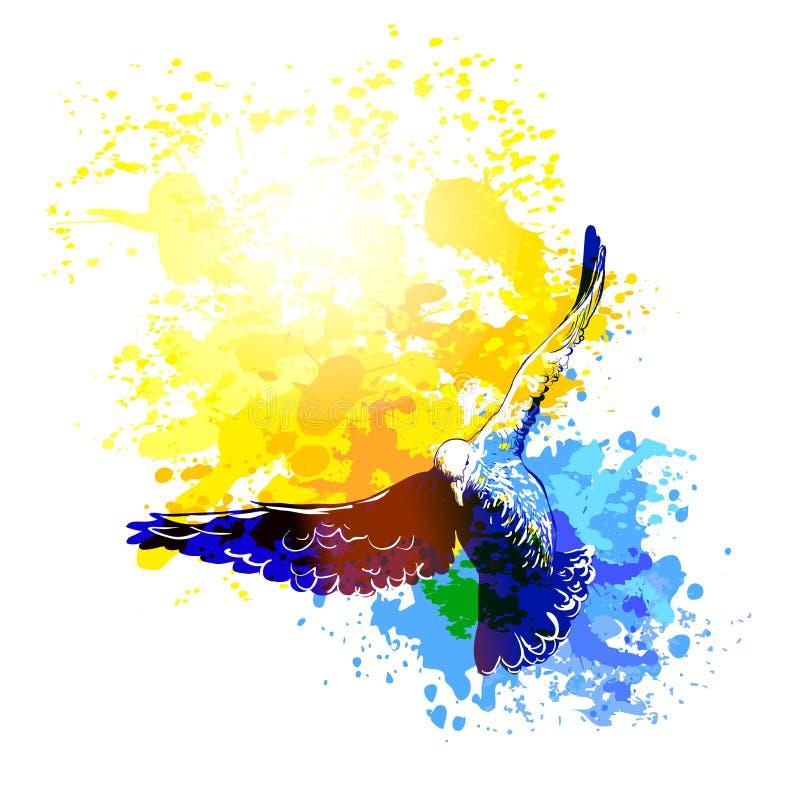 De vogels die van Watercolourduiven, het kleurrijke vector schilderen vliegen De vlucht van vogels vector illustratie