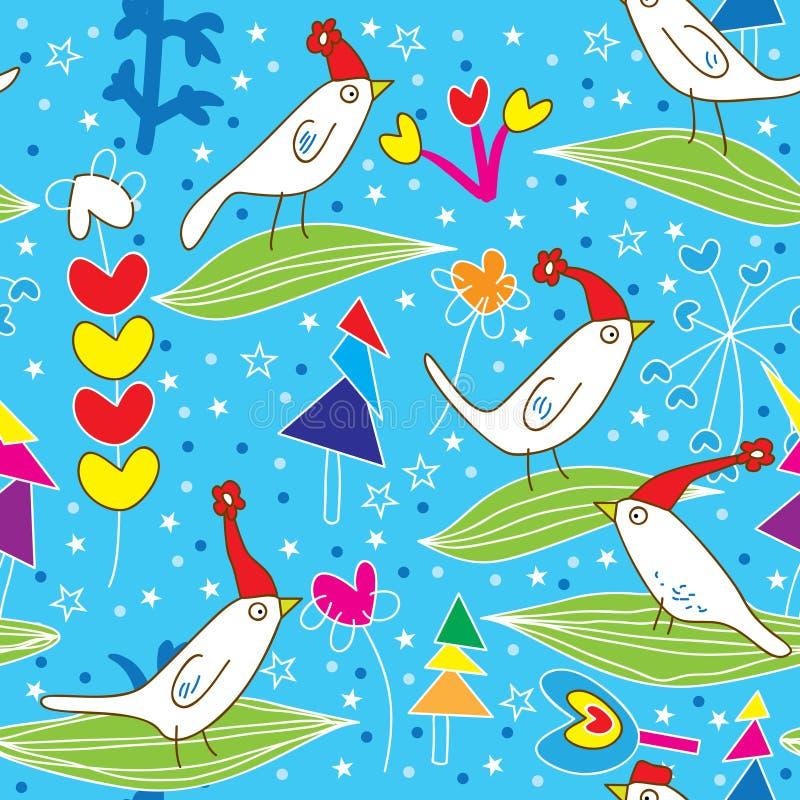 De Vogels Pattern_eps van Kerstmis stock illustratie