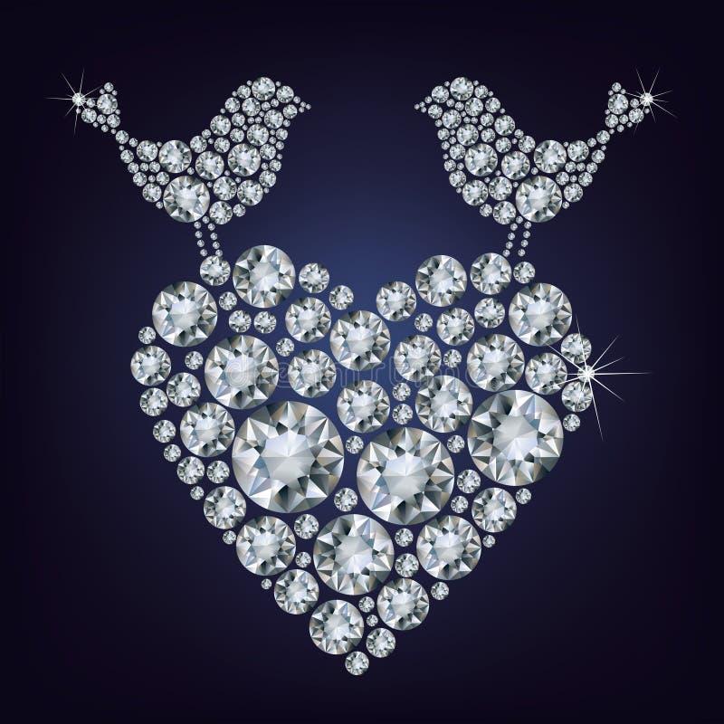De vogels van de diamant voor de dag van de Valentijnskaart royalty-vrije illustratie