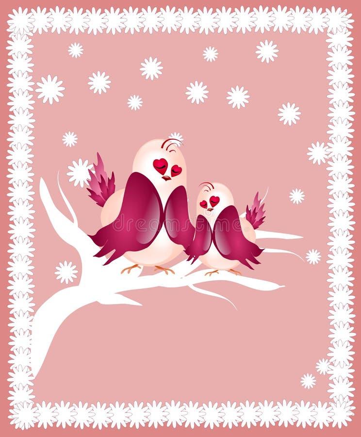 De vogels van de liefde en een boom royalty-vrije illustratie