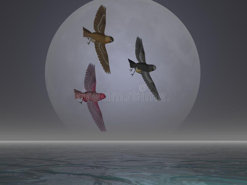 De Vogels van de maan royalty-vrije illustratie