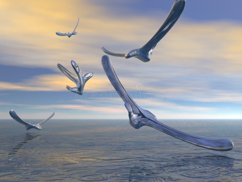 De vogels van het kwik stock foto's