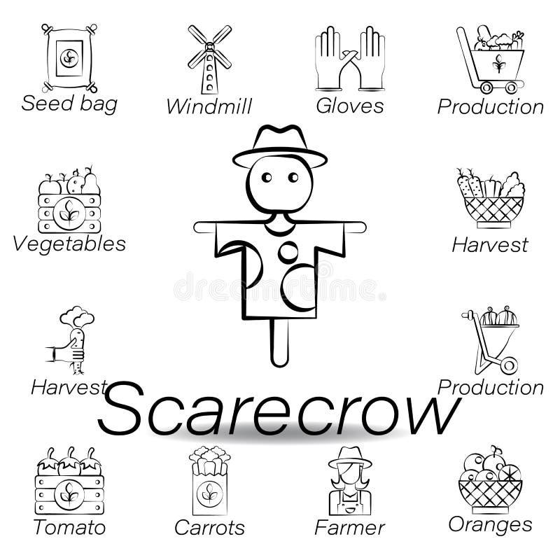 De vogelverschrikkerhand trekt pictogram Element van de landbouw van illustratiepictogrammen De tekens en de symbolen kunnen voor royalty-vrije illustratie