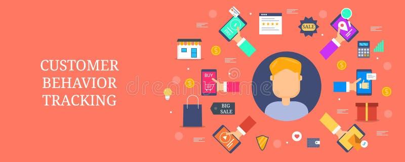 De volgende - gedrags marketing - digitale reclame van het klantengedrag - het concept van de inhoudsbevordering Vlakke ontwerp v stock illustratie