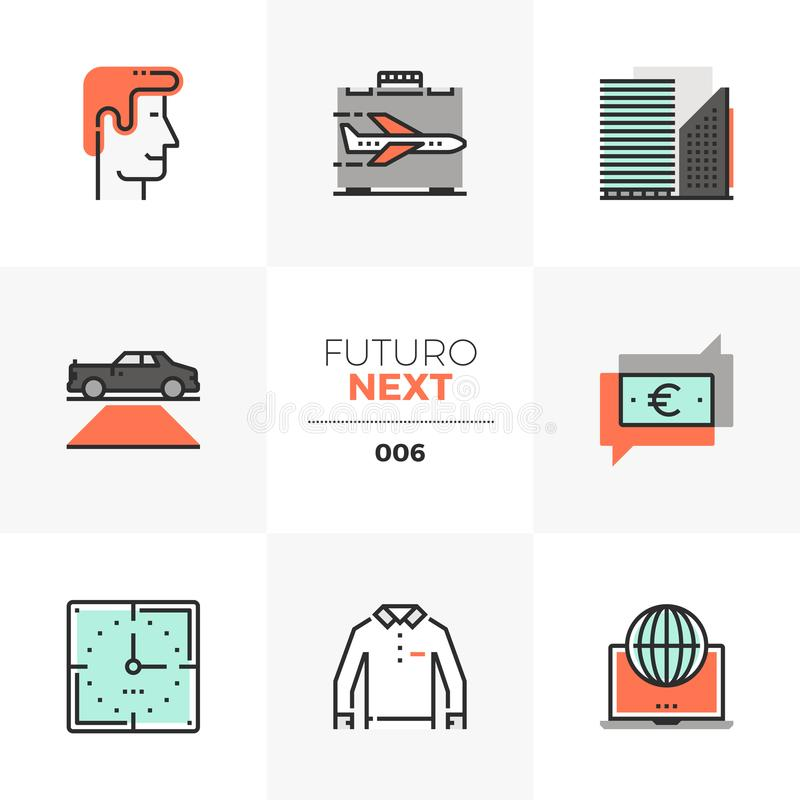 De Volgende Pictogrammen van Doing Business Futuro vector illustratie