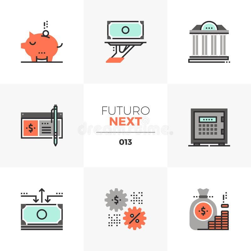 De Volgende Pictogrammen van Futuro van de bankwezendiensten stock illustratie