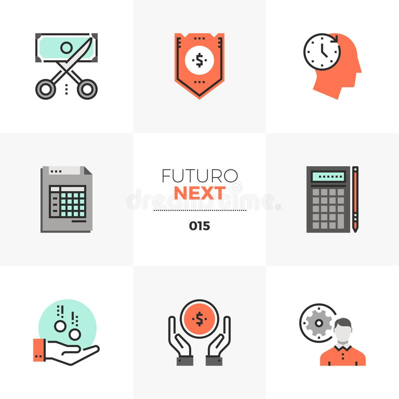 De Volgende Pictogrammen van Futuro van de bedrijfbegroting royalty-vrije illustratie