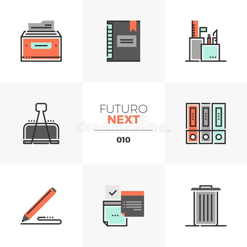 De Volgende Pictogrammen van Futuro van bureauhulpmiddelen vector illustratie