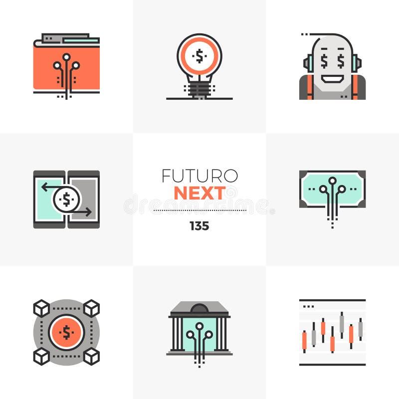 De Volgende Pictogrammen van Futuro van de Fintechindustrie stock illustratie