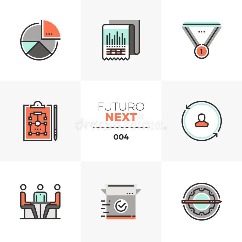 De Volgende Pictogrammen van Futuro van het Businessplan stock illustratie