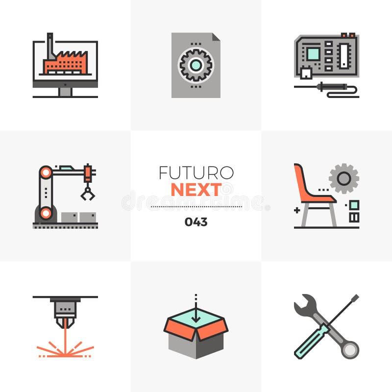 De Volgende Pictogrammen van Futuro van het vervaardigingslaboratorium stock illustratie