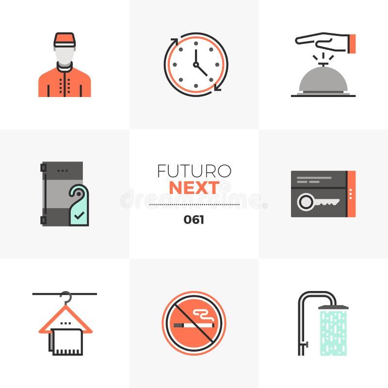 De Volgende Pictogrammen van Futuro van de hoteldiensten royalty-vrije illustratie