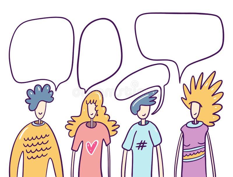 De volkeren van het praatje en de reeks van de toespraakbel Platte dialoog Handgetrokken vectorillustratie stock illustratie