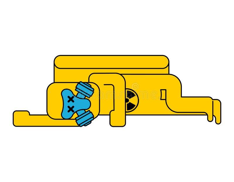 De volkomen Gele bescherming van Kostuum Chemische Biohazard Kostuum Radioact stock illustratie