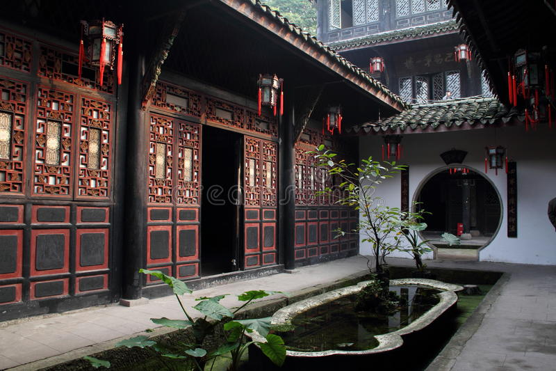 De volks historische gebouwen van China Sichuan stock foto
