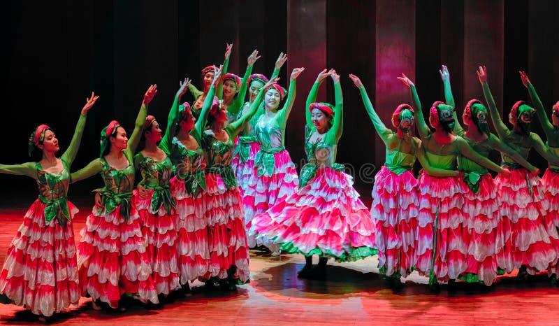 De volksdans van meisje-Axi sprong-Yi van het Yikostuum stock fotografie