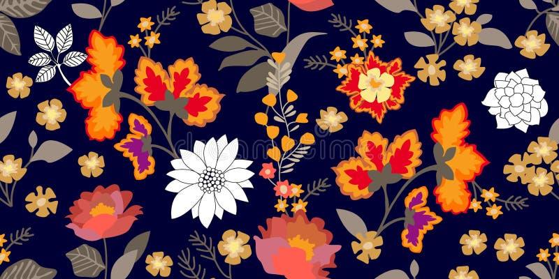 De volksgrens van de kunststijl Naadloos bloemenpatroon met bloeiende bloemen en grijze bladeren royalty-vrije illustratie