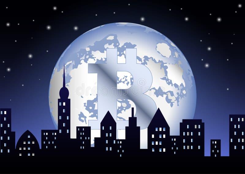 De volle maan van de crypto-Munt bitcoin glanst op de nachtstad royalty-vrije illustratie