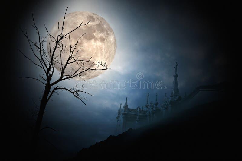 De volle maan van Halloween stock foto