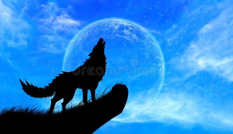 De Volle maan van het wolvengehuil stock foto