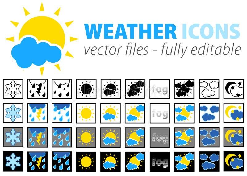 De volledig editable pictogrammen van het weer -   royalty-vrije illustratie