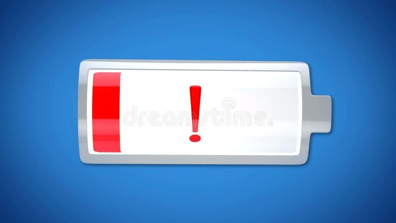 De volledig geloste batterij, indicator waarschuwt met rood, uitgeput, overgewerkt lichaam vector illustratie
