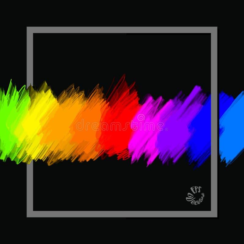 De volledige banner van spectrumkleuren met kader vector illustratie