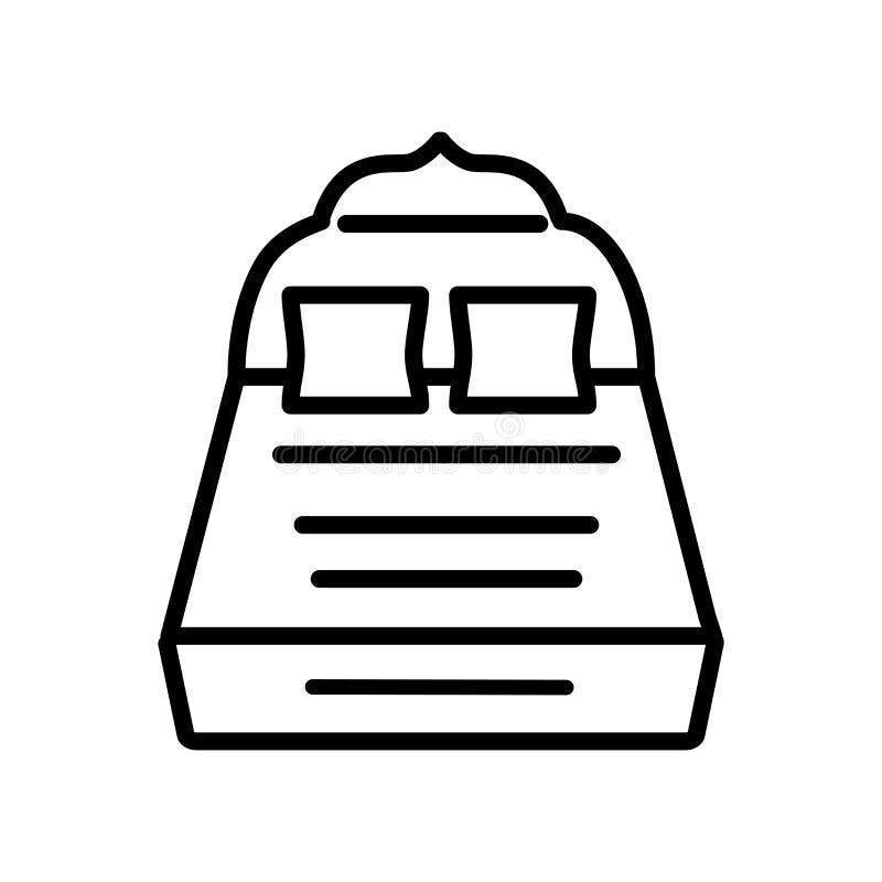 De volledige die vector van het Bedpictogram op witte achtergrond, Volledig Bedteken wordt geïsoleerd stock illustratie