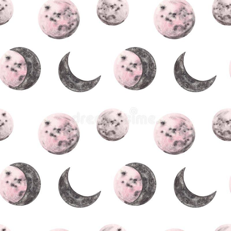 De volledige en halve illustraties van de maanwaterverf De maan faseert naadloos patroon Ruimteachtergrond met roze planeten in e royalty-vrije illustratie