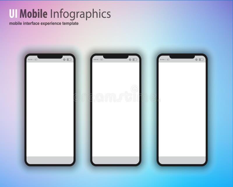 De volledige familie van het Volgende generatieapparaat omvatte mobiele telefoons, t stock illustratie