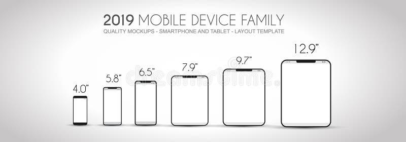 De volledige familie van het Volgende generatieapparaat omvatte mobiele telefoons, t royalty-vrije illustratie