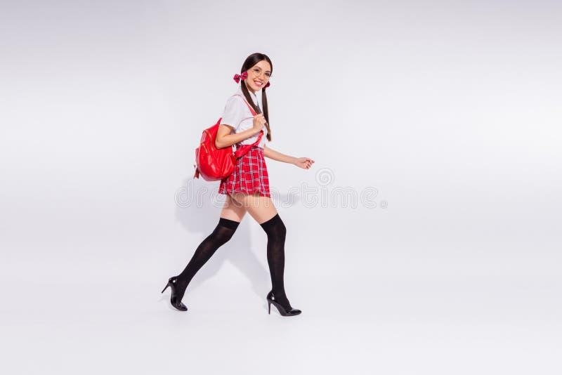 De volledige foto die van de het lichaamsgrootte van het lengte zijprofiel zij haar klaslokaal van de de studenten vriendschappel stock fotografie