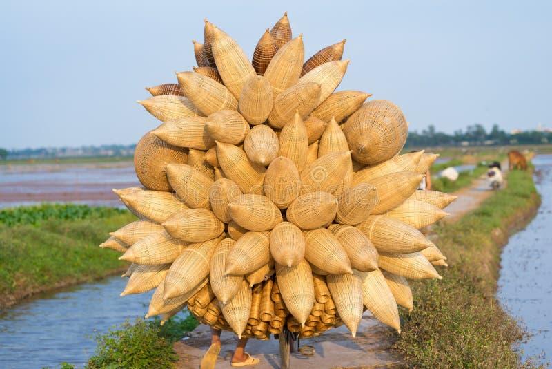 De volledige geladen Vietnamese vallen van bamboevissen op fiets aan koper op weg door cultuurgebied te leveren stock afbeeldingen