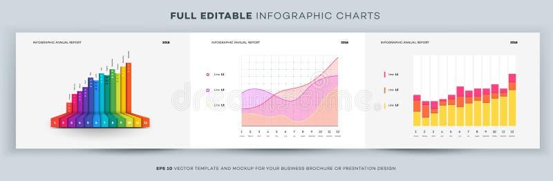 De volledige Grafiek van Editable Infographic Vectormalplaatje en Model voor Uw Bedrijfsbrochure of Presentatieontwerp royalty-vrije illustratie