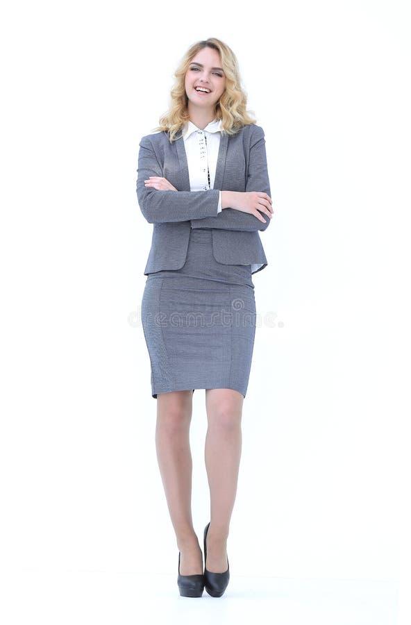 In de volledige groei Glimlachende bedrijfsvrouw stock afbeeldingen