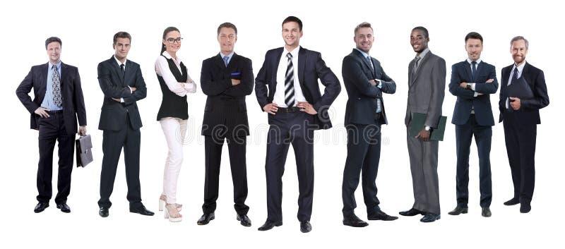 In de volledige groei professioneel commercieel die team op wit wordt geïsoleerd royalty-vrije stock foto's