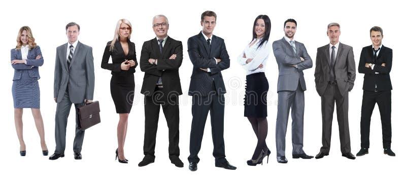 In de volledige groei professioneel commercieel die team op wit wordt geïsoleerd stock foto's