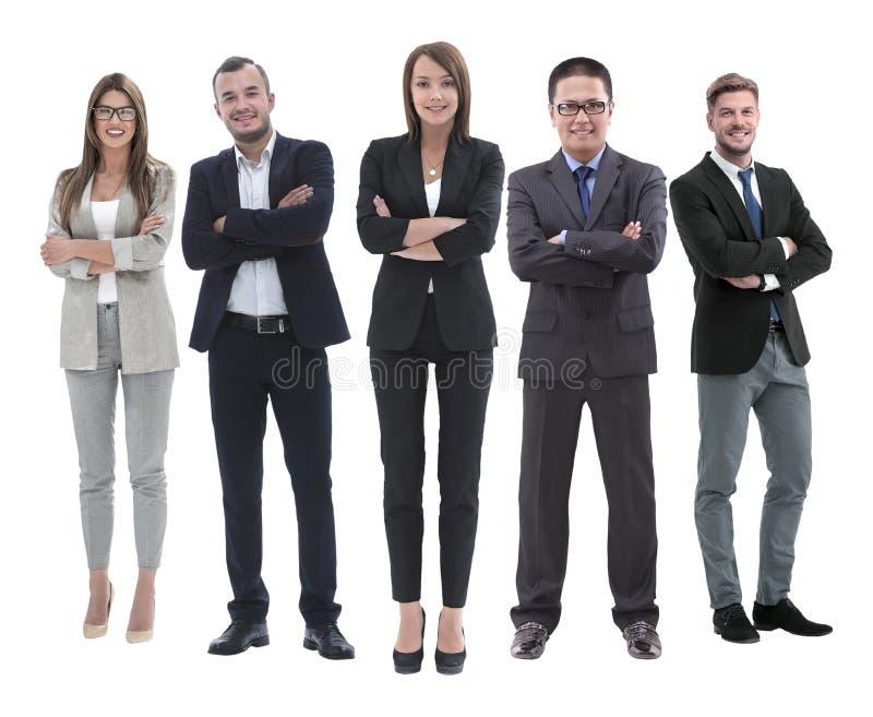 In de volledige groei werkgever en zijn commercieel team die zich verenigen royalty-vrije stock fotografie